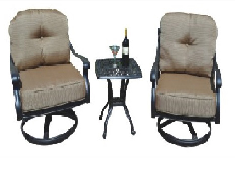 Elizabeth 3-piece Seating set: 2 Swivel club chairs and 1 end table