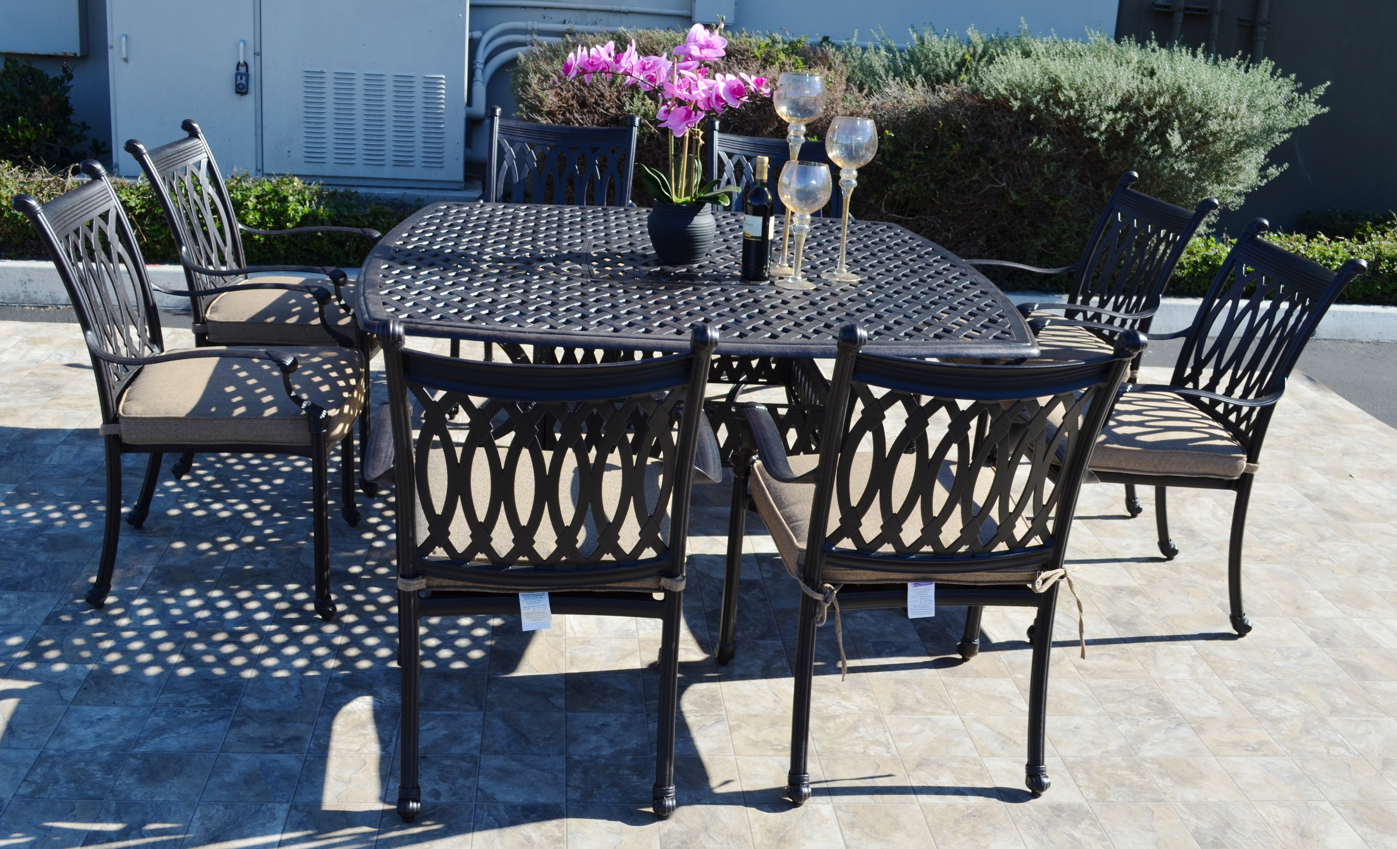 Grand Tuscany 9 Piece Dining Set: 8 Dining Chairs, 1 Square Dining Table 64""