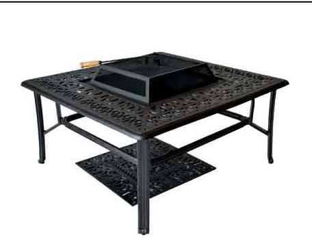 LD777AB-44SQ-Elizabeth 44-in Square Coffee Table  with BBQ/Firepit-W44xD44xH21 Weight 60lbs