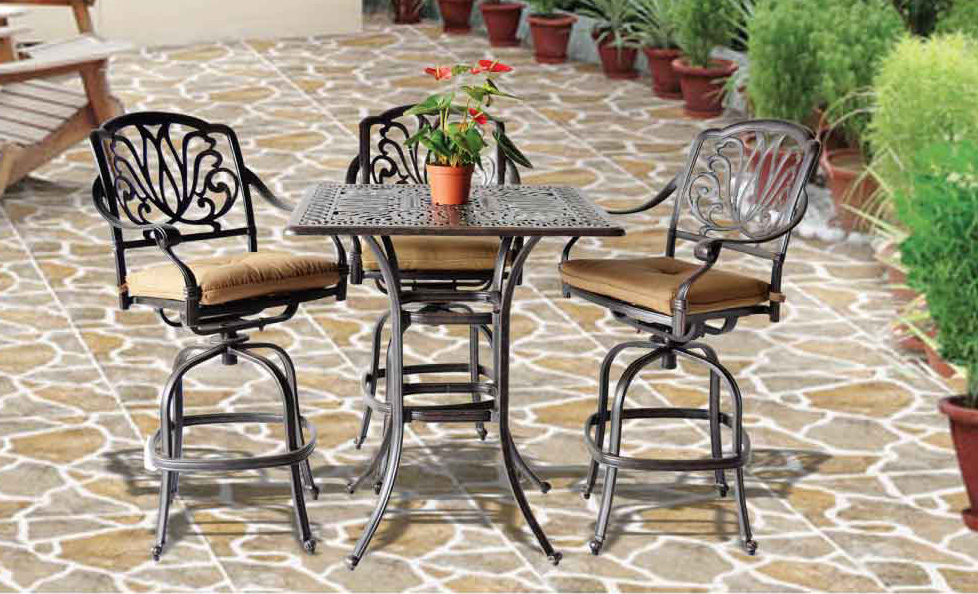 Elizabeth Bar Set 36 In Square Bar Table Swivel Barstools Patio