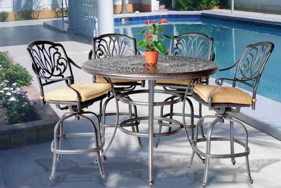 Elizabeth Bar Set 52 In Round Bar Table With Ice Bucket Swivel Barstools Patio Furniture In