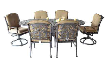 Mandalay Dining Set - 42x87 oval Table