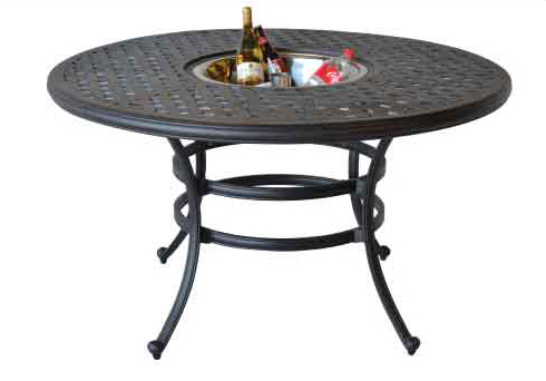 LD1031AD-52-Nassau 52-in Round Dining Table  With Ice Bucker -Dia52xH29 Weight 65lbs
